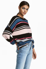 Ribbed jumper - Pink/Black striped - Ladies | H&M CN 1