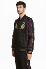 Embroidered satin jacket - Black/Purple - Men | H&M CN 1