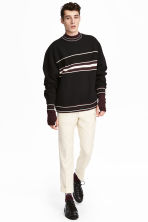 Jacquard-patterned sweatshirt - Black - Men | H&M 1