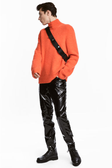 Ribbed polo-neck jumper - Orange -  | H&M IE