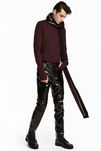 Leather-coated Pants Model