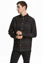 Cotton shirt Regular fit - Dark blue/Checked - Men | H&M 1