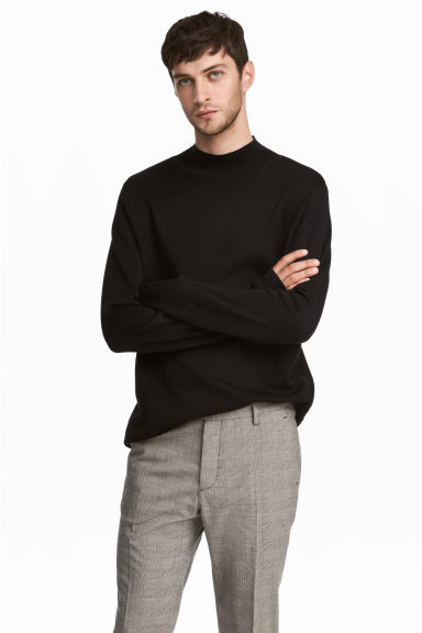 Fine-knit turtleneck jumper - Black - Men | H&M