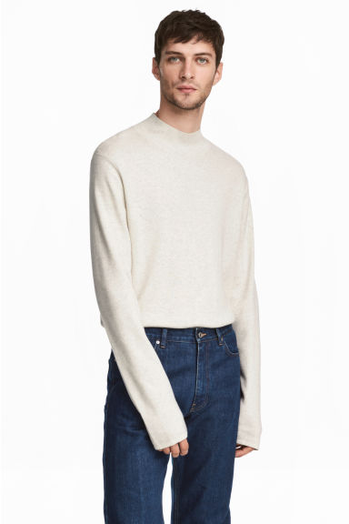 Fine-knit turtleneck jumper - White marl -  | H&M IE 1