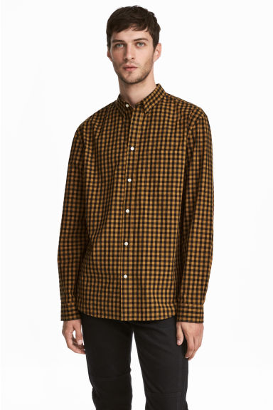 Cotton shirt Regular fit - Yellow/Black checked - Men | H&M CN