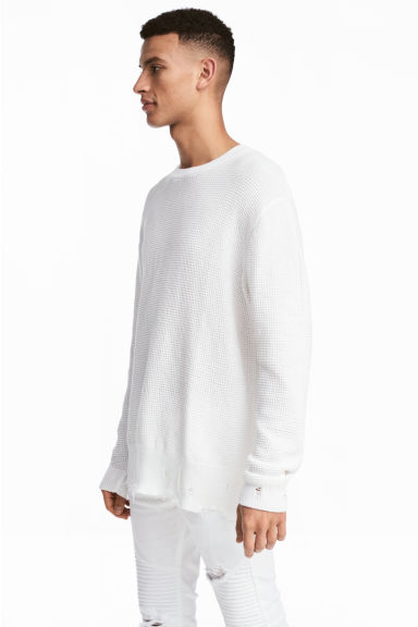 Textured-knit jumper - White - Men | H&M CN 1