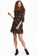 Crêpe dress - Black/Roses - Ladies | H&M 1