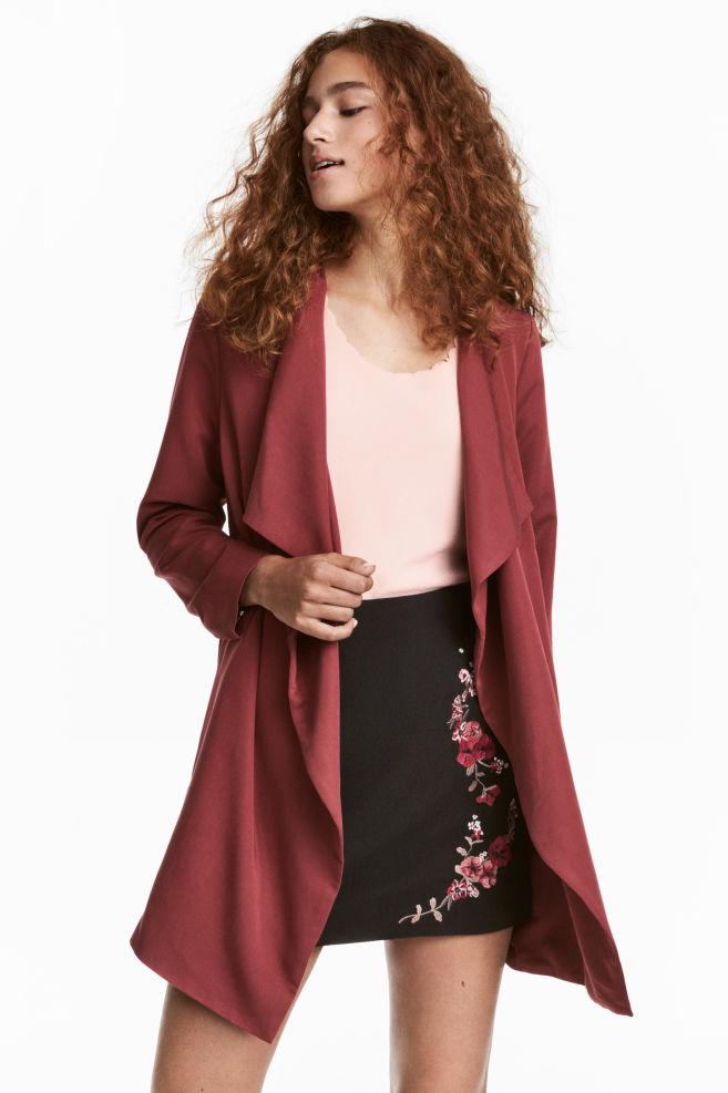 Manteau drapé - Rouge foncé - FEMME | H&M FR 1
