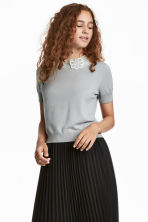 Fine-knit top with a collar - Grey - Ladies | H&M 1