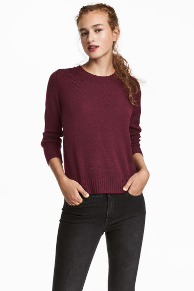 Knitted jumper - Burgundy - Ladies | H&M