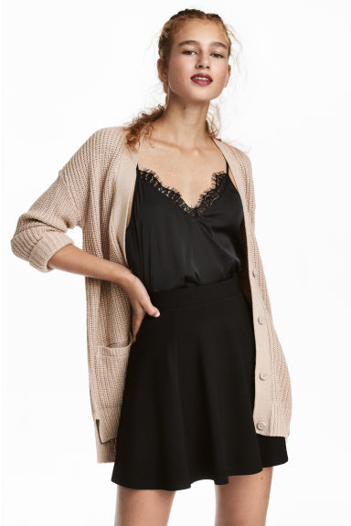 Rib-knit cardigan - Light beige - Ladies | H&M 1