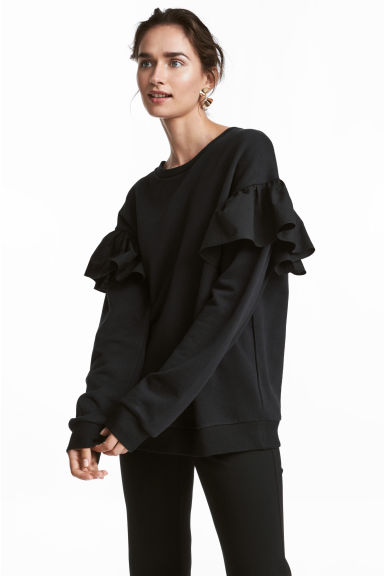 Sweatshirt with flounces - Black - Ladies | H&M CN