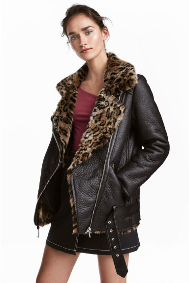 Oversized biker jacket - Black/Leopard print - Ladies | H&M