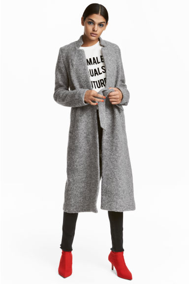 Wool-blend coat - Grey marl - Ladies | H&M CN