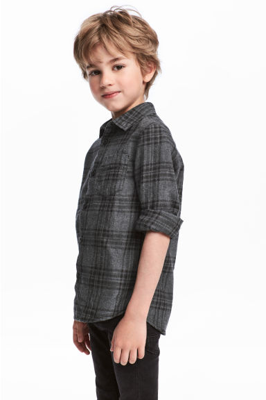 Cotton flannel shirt - Dark grey/Black checked - Kids | H&M CN