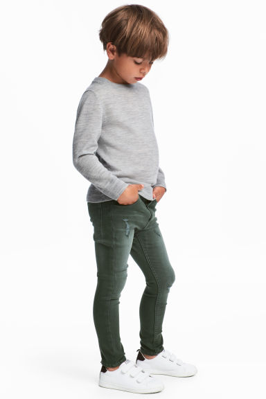 Skinny Fit Worn Jeans - Dark green/Washed -  | H&M CN