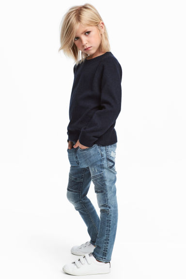 Skinny fit Biker jeans - Denim blue/Washed - Kids | H&M CN 1