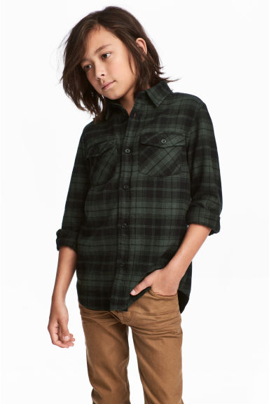 Flannel shirt - Dark green/Checked - Kids | H&M 1