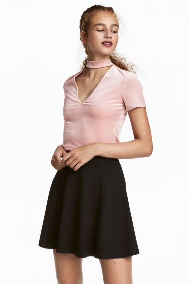 Top en velours à encolure en V - Rose clair -  | H&M FR