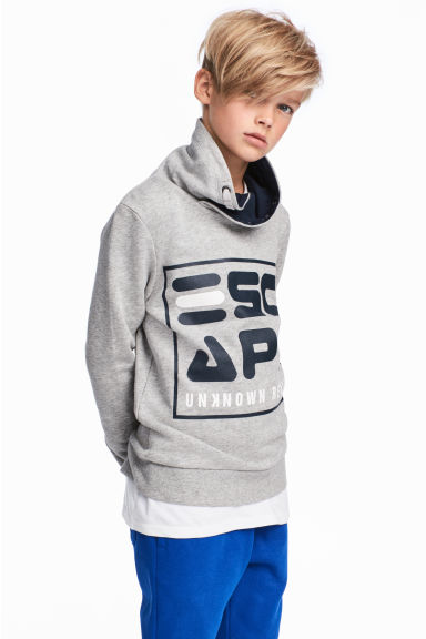 Funnel-collar sweatshirt - Grey marl - Kids | H&M CN 1