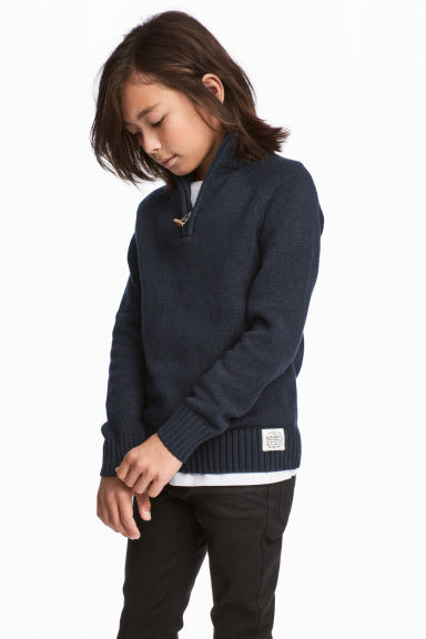Knitted jumper with a collar - Dark blue -  | H&M GB