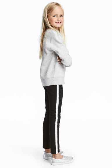 Sturdy jersey leggings - Black/Silver-coloured - Kids | H&M IE