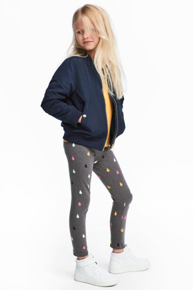 Sturdy jersey leggings - Dark grey/Raindrops - Kids | H&M CN