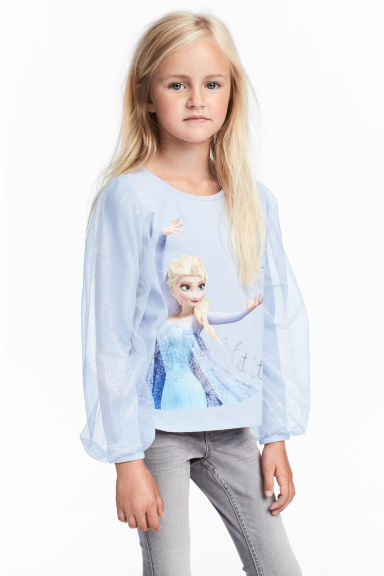 Jersey top with tulle sleeves - Light blue/Frozen - Kids | H&M CN 1