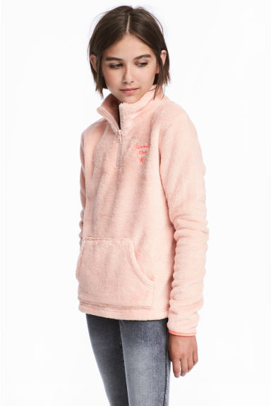 Flauschiger Pullover - Puderrosa -  | H&M CH 1