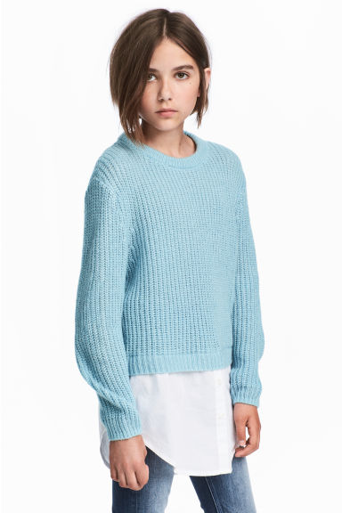 Ribbed jumper - Light blue/White -  | H&M CN
