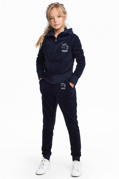 Velour joggers - Dark blue - Kids | H&M CN