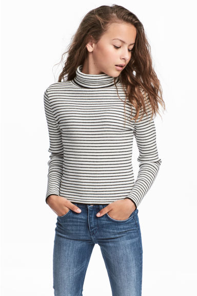 Ribbed polo-neck jumper - Natural white/Black striped -  | H&M 1