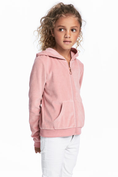 Hooded jacket - Old rose/Velour - Kids | H&M