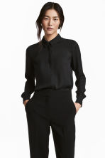 Long-sleeved blouse - Black - Ladies | H&M CN 1