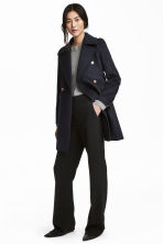 Double-breasted wool-mix coat - Dark blue - Ladies | H&M 1