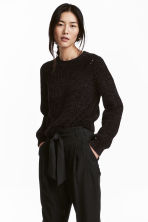 Textured-knit jumper - Black - Ladies | H&M 1