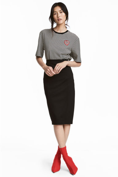 Jersey pencil skirt - Black - Ladies | H&M CN