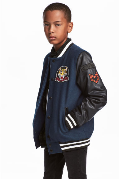 Baseball jacket - Dark blue/Black -  | H&M CN 1