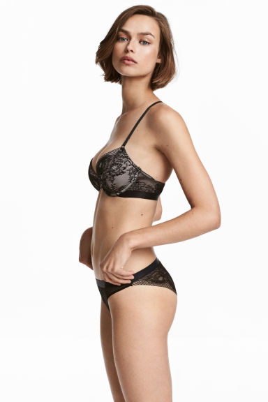 Slip van mesh en kant - Brief - Zwart - DAMES | H&M BE 1