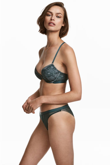 Mesh and lace briefs - Petrol - Ladies | H&M IE 1