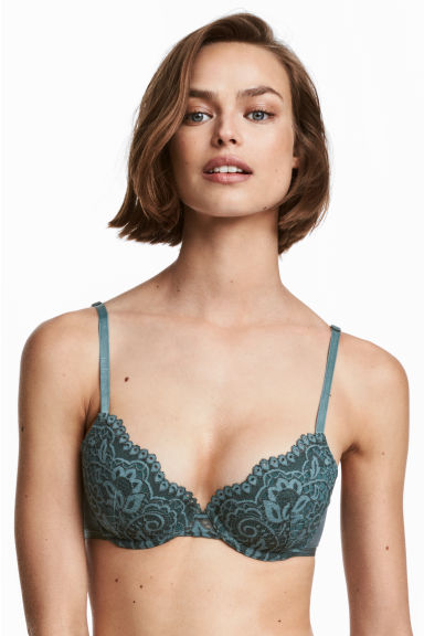 Padded lace bra - Turquoise - Ladies | H&M 1