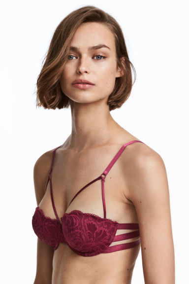 Lace balconette bra - Burgundy - Ladies | H&M 1