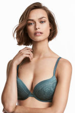 Lace super push-up bra - Teal - Ladies | H&M IE 1