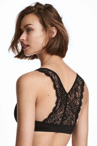 Push-up con schiena in pizzo - Nero - DONNA | H&M IT 1