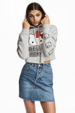 Cropped hooded top - Light grey/Hello Kitty - Ladies | H&M 1