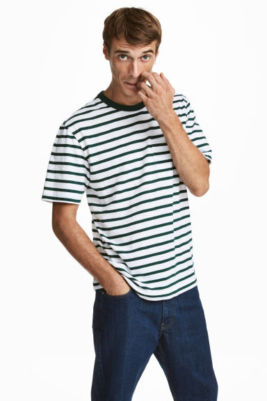 T-shirt - Wit/groen gestreept - HEREN | H&M BE 1