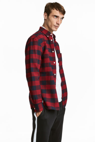 Checked shirt Regular fit - Red/Blue checked - Men | H&M 1