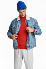 Pile-lined denim jacket - Light denim blue - Men | H&M GB 1