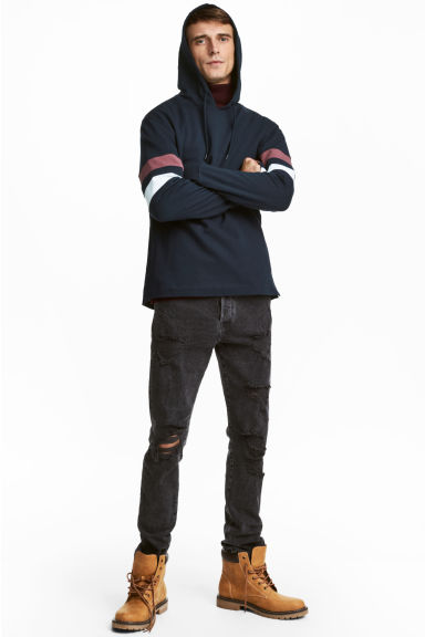 Relaxed Skinny Jeans - 水洗黑色 - Men | H&M CN