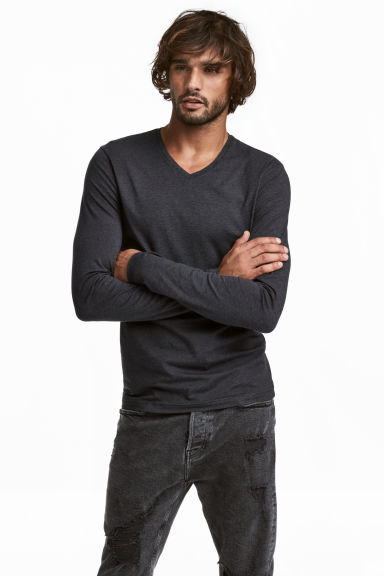 Long-sleeved T-shirt Slim fit - Dark grey - Men | H&M CN 1
